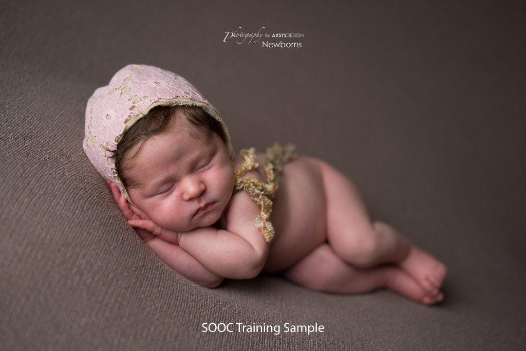 SOOC Training Sample - Newborn Cloud Posing Pillow - Side Laying