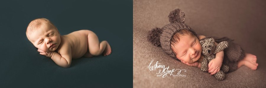 BEFORE Newborn Cloud (LEFT) | AFTER (RIGHT) -- Bethany Chase using the Newborn Cloud Posing Pillow and Mini Set